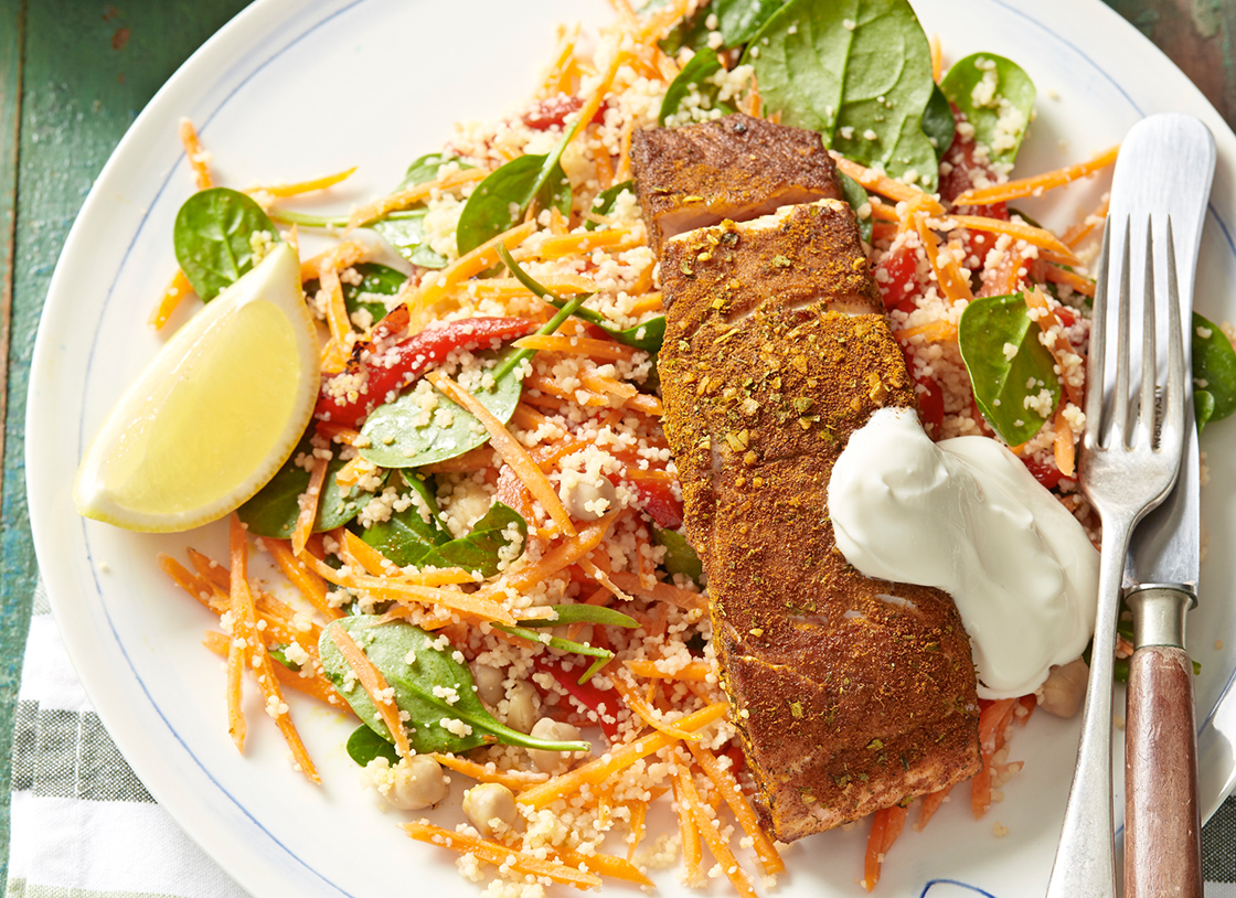 Middle Eastern Salmon with Couscous Salad