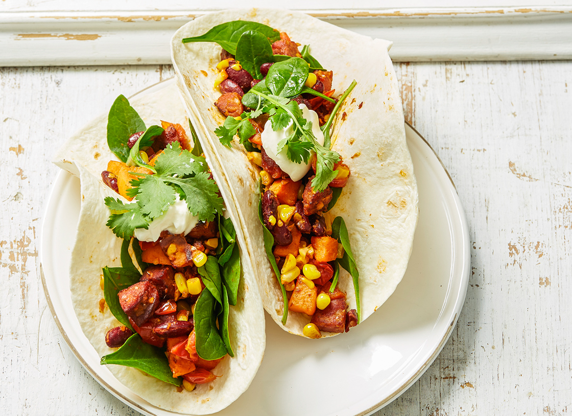 Chorizo, Sweet Potato and Corn Tacos