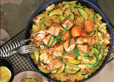 Salmon with Zucchini and Capsicum Couscous