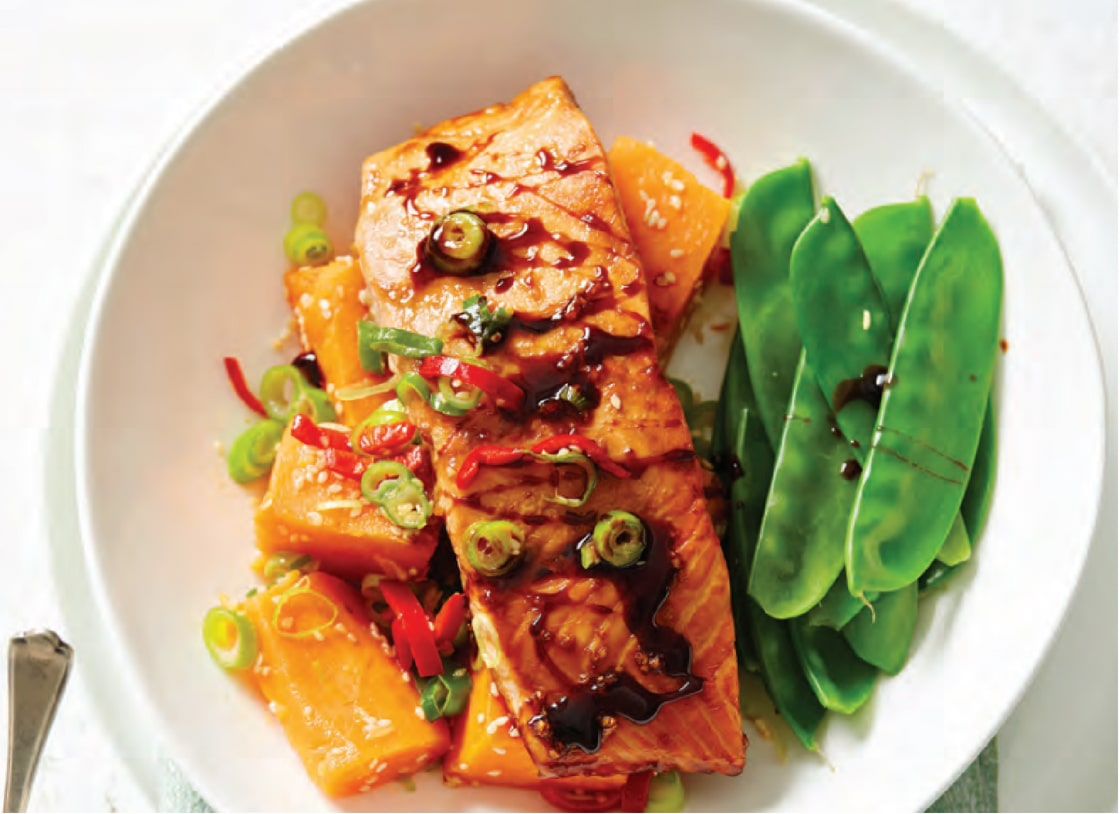 Soy Salmon with Chilli Sesame Sweet Potato