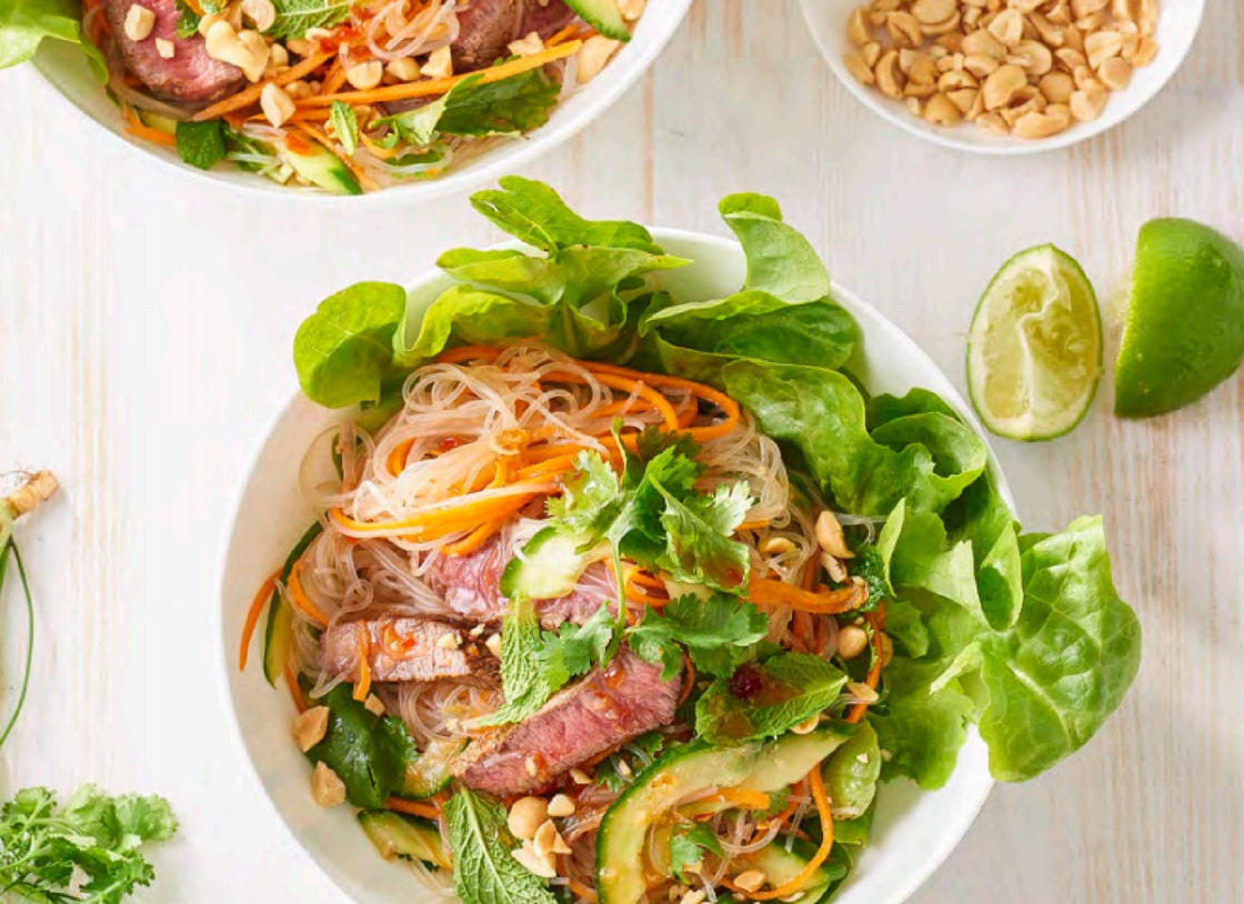 Lemongrass Beef and Noodle Lettuce Bowls