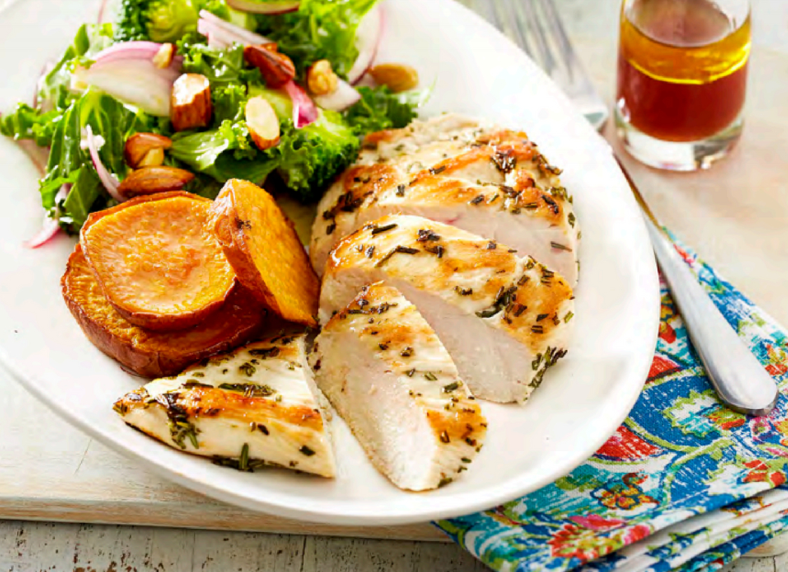 Chicken with Broccoli, Kale and Almond Salad
