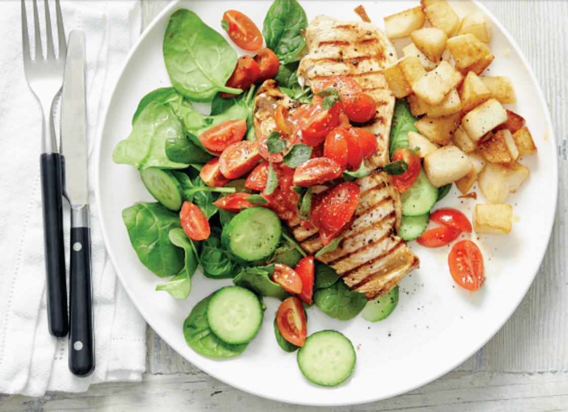 Vinaigrette Chicken with Tomatoes, Spinach and Potatoes