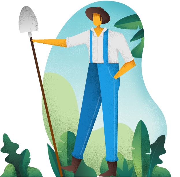 Illustration of male farmer holding a shovel