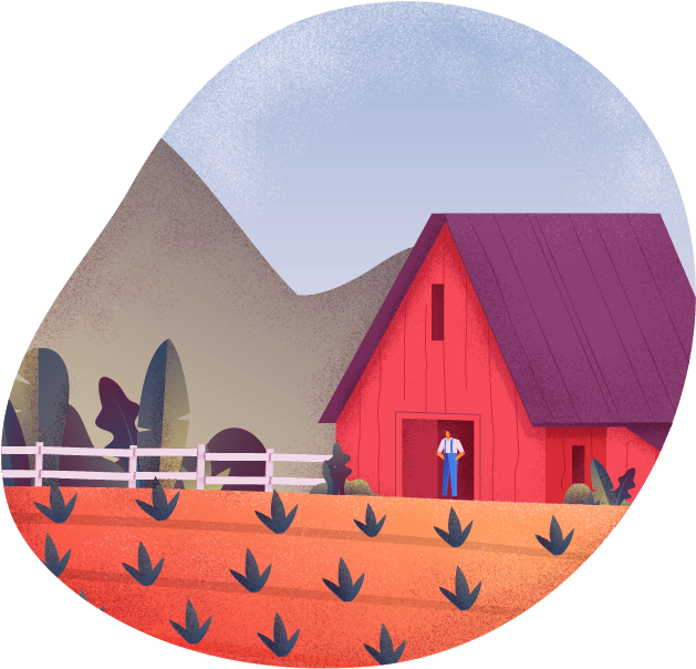Illustration of a young crop and barn with a male farmer standing in front of the barn doors