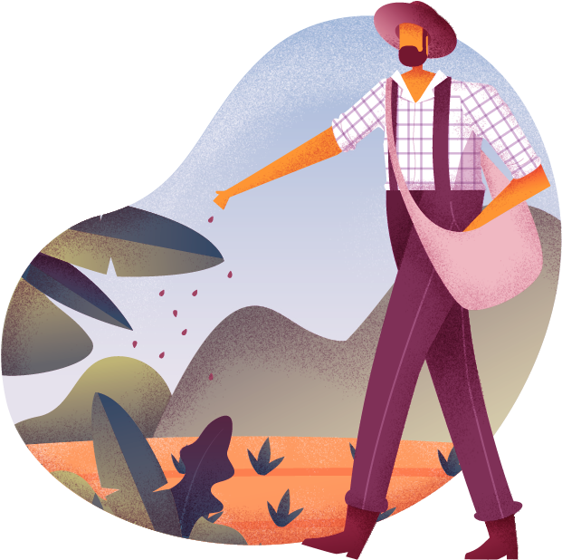 Illustration of male farmer sowing