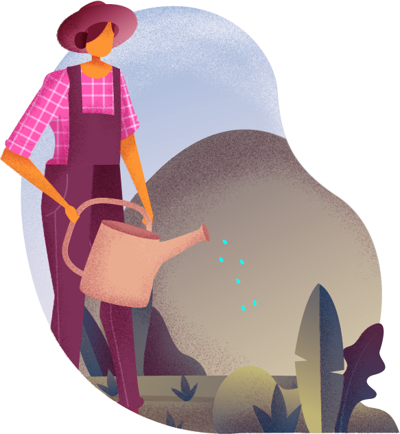 Illustration of female farmer watering a field holding a watering can