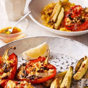 Baked Feta Capsicums with Pumpkin Couscous