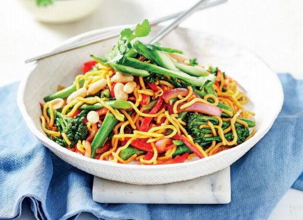 Curried Vegetable Noodles with Cucumber and Peanuts