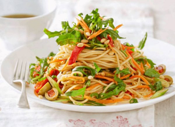 Fire Roasted Pepper and Rocket Spaghetti