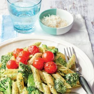 Green Vegetable Pesto Penne with Balsamic Cherry Tomatoes
