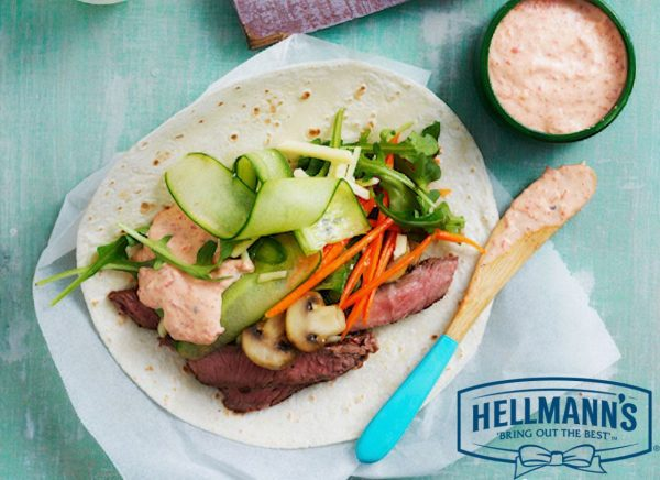 Pepper Steak Taco with Roasted Capsicum Hellmanns Aioli
