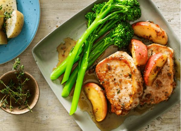 Pork with Candy Apple and Broccolini