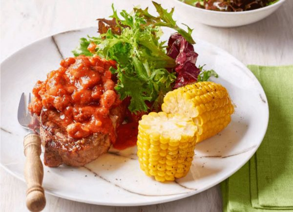 Sirloin Steaks with Smoky Beans