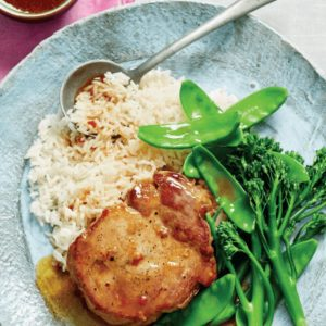 Sticky Pork with Broccolini Snow Peas and Sesame Rice