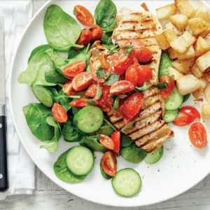 Vinaigrette Chicken with Tomatoes Spinach and Potatoes