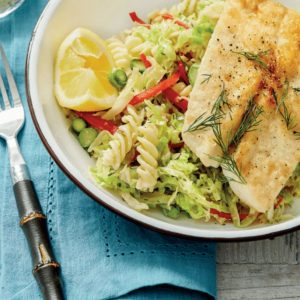 White Fish with Capsicum and Lemon Cabbage Fusilli