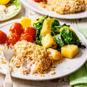 Almond Crusted Fish With Spinach Potatoes