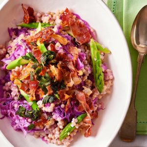 Bacon And Cabbage Pearl Couscous Risotto