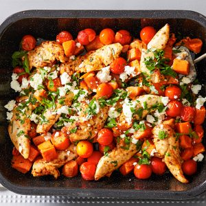 Portuguese Chicken And Sweet Potato Bake
