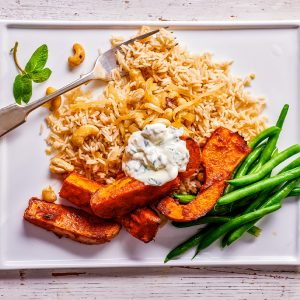 Roast Tandoori Pumpkin With Onion Cashew Rice